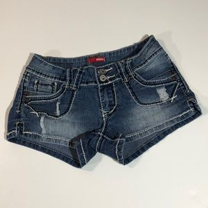 BONGO Distressed Low Rise Stretch Jean Shorts